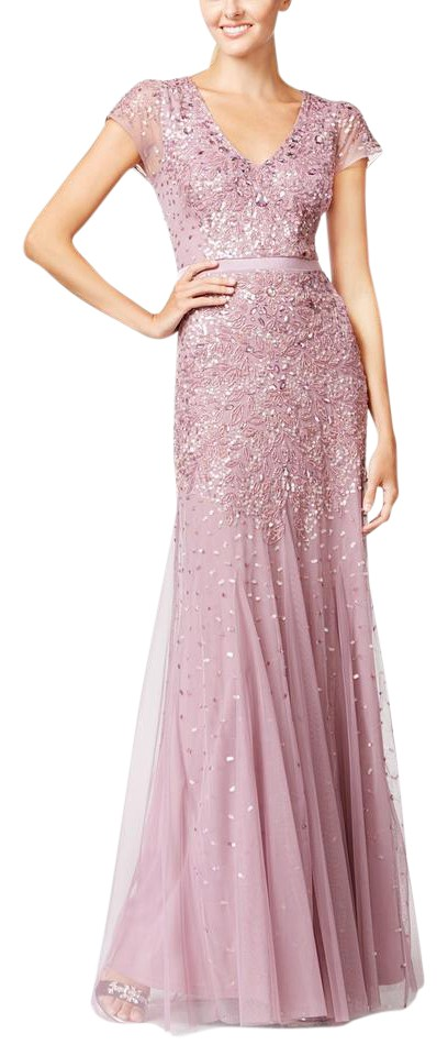 Adrianna Papell Dusty Rose Cap Sleeve Beaded Embellished Gown Long