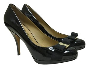 Salvatore Ferragamo Patent Ferragamo Black Pumps