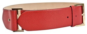 Valentino Rockstud wide textured leather red belt