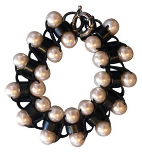 Lee Angel Lee Angel Glass Pearl and Black Plated Brass Bracelet