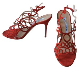 Manolo Blahnik Red Suede Pumps