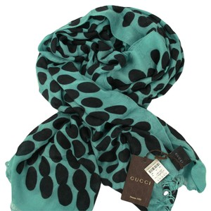 Gucci GUCCI 367220 Women's Green/Black GG Guccissima Polka Dot Scarf