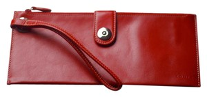 Lodis Leather Clutch Wristlet in Red