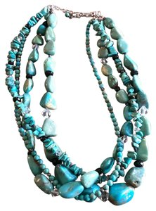 Silpada Silpada .925 Sterling Silver Turquoise Obsidian Multi-Strand Necklace