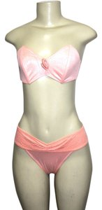 Le FOGLIE Le FOGLIE WOMEN'S TWO PIECE STRAPLESS BIKINI SWIMSUIT SET PEACH Small ITALY