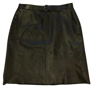 Longchamp Pockets Leather Raw Buckle Skirt Black