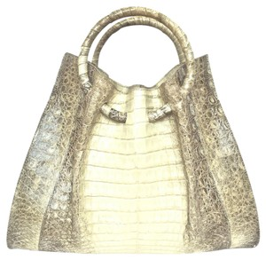 Other Creme Crocodile Himalayan Satchel in Gray and Ivory