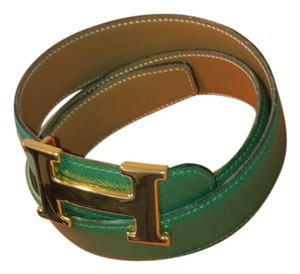 Hermès Hermes 32mm H belt kit in green and gold leather.