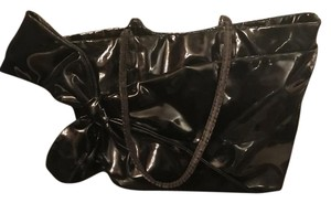 Valentino Vintage Leather Patent Leather Tote in Black