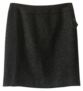 Halogen Exposed Zipper Mini Skirt Black