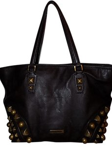 Burberry Large Leather Nickie Studded Chocolate Brown Tote Bag on ...