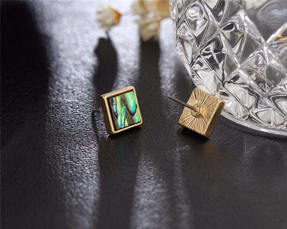 Abalone S Square Natural Stone Stud Earrings