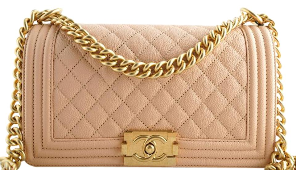 7de9112d55a7 Chanel Classic Flap Boy Le Old Medium Light Gold Hardw Beige Caviar ...