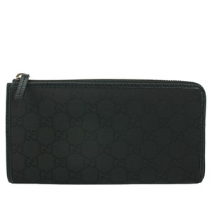Gucci GUCCI 332747 Women's Black GG Canvas Zip Around Wallet