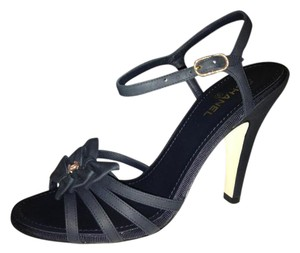 Chanel Bow Ankle Strap Caged Navy Blue Sandals