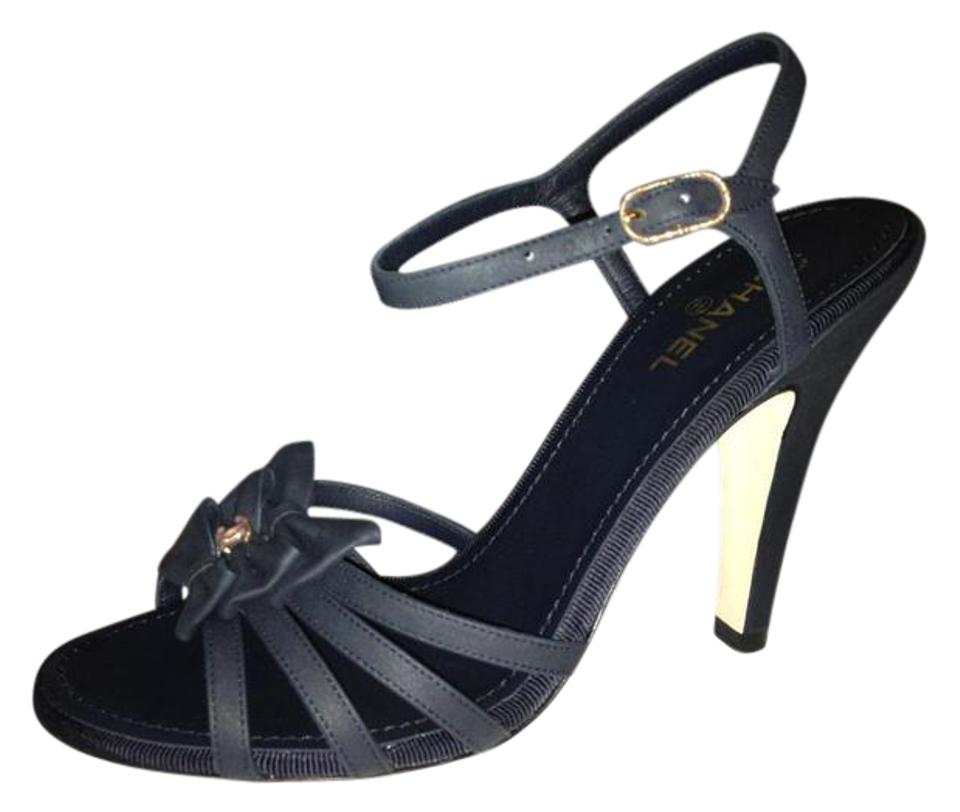1b7d1fe8cc7066 Chanel Navy Blue 13p Leather Cc Bow Ankle Strap Strappy Heels Pumps ...