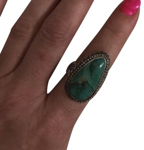 Geunine Silver & Turqouise Teardrop Ring Genuine Silver .925 Turquoise Ring-sz7