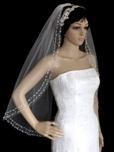 Diamond White Double Pearl And Crystal Beaded Fingertip Wedding Veil