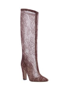 Valentino Tall Sheer Lace Burgundy Boots
