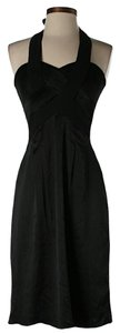 BCBGMAXAZRIA Silk Halter Textured Crisscross Strap Dress