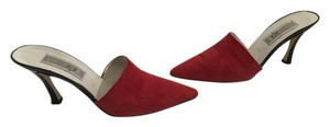 Paco Gil Made Spain Red Suede All Leather Black Patent Heels Mules