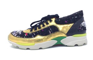Chanel Sneaker Leather Tennis Gold Gold/Black Athletic