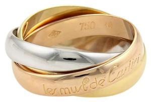 Cartier Cartier Trinity 18k Tricolor Gold 3.5mm Rolling Band Ring EU 48-US 4.5