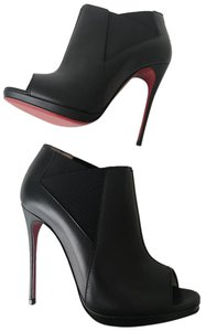 Christian Louboutin Fifi Booty Stiletto Ankle Leather Black Pumps