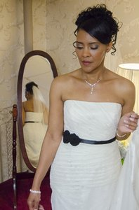Vera Wang White By Vera Wang Strapless Draped Lace Column Gown Wedding Dress