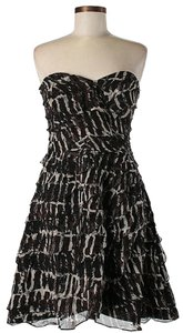 Tracy Reese Strapless Tiered Ruffle Print Fit And Flare Dress