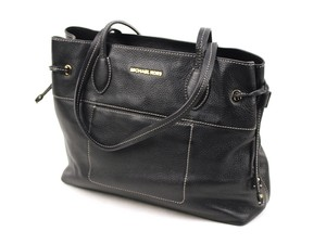 Michael Kors Leather Drawstring Contrast Stitching Mae Tote in Black