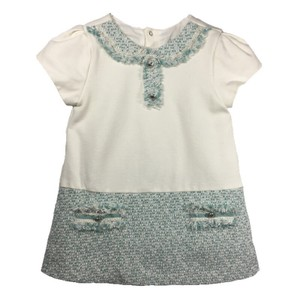 ALYRL DEPARTMENT short dress OFF WHITE/ TEAL Tweed Spring Summer Silver Hardware Cotton on Tradesy
