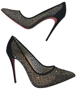 Christian Louboutin Follies Lace Mesh Pigalle Stiletto Black Pumps