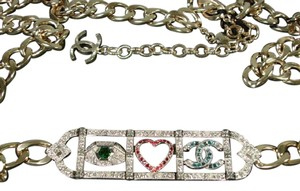 Chanel Eye Love Necklace Choker Belt Green Eye Pink Heart Blue CC