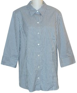 Lafayette 148 New York Button Down Shirt Blue