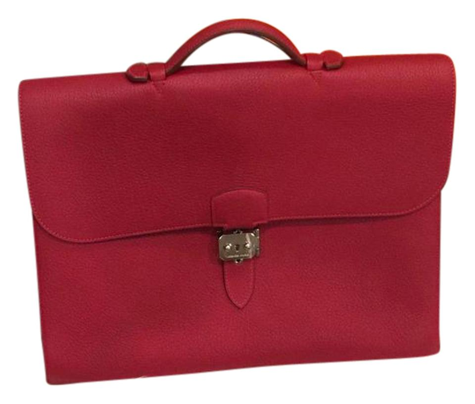 8cee98f3f407 Hermès Sac A Depeche 38 Briefcase Cafe Rouge Red Fjord Leather ...