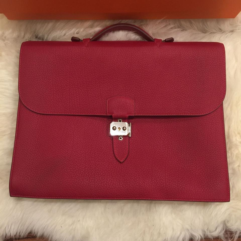 88fe1491b1bd Hermès Sac A Depeche 38 Briefcase Cafe Rouge Red Fjord Leather Laptop Bag -  Tradesy