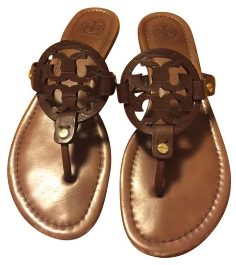 f8a2eb3f3dc4 Tory Burch Chocolate Miller Leather Sandals Size US 7 Regular (M