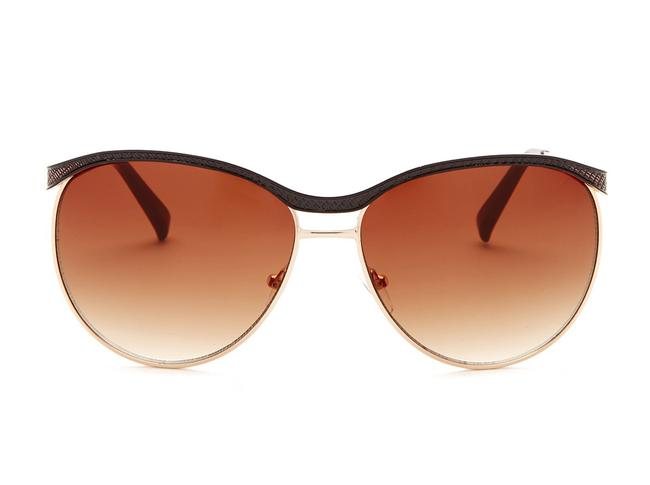 Item - Brown and Rose Gold Textured Metal & Rounded Sunglasses
