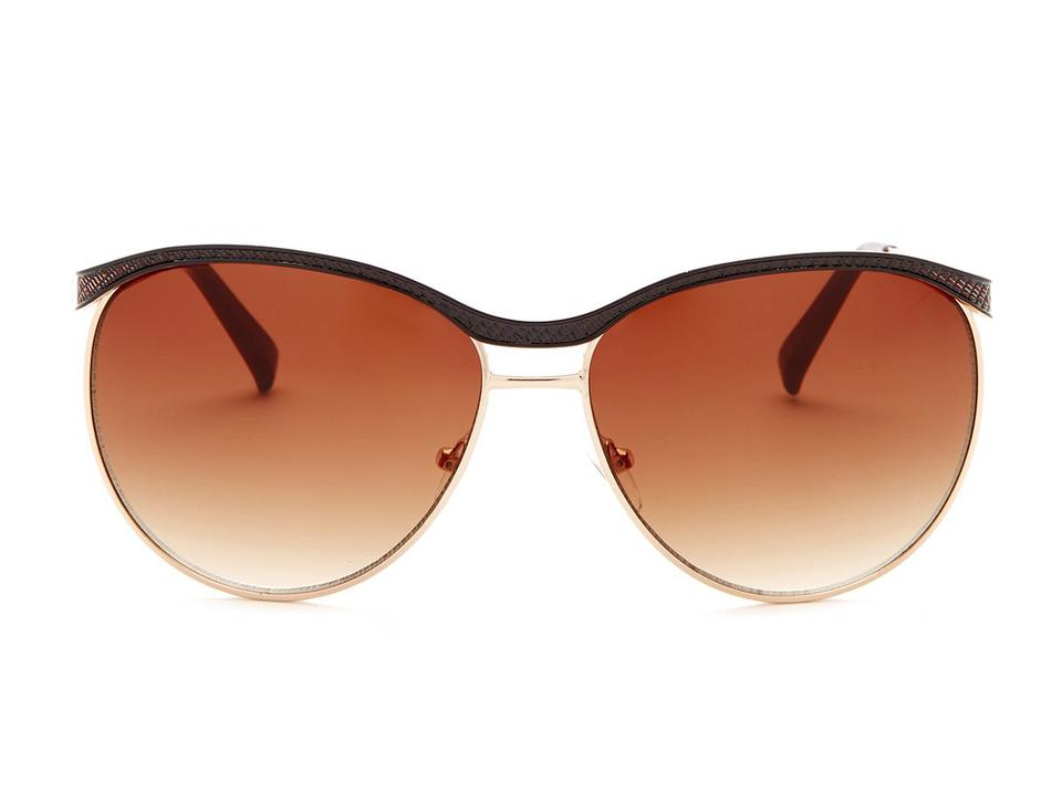 3081a1d9768 Nanette Lepore NWT Nanette Lepore Brown Textured Metal   Rose Gold Rounded  Sunglasses ...