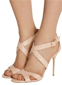 Jimmy Choo Crisscross Strap Stiletto Ankle Strap Open Toe Blush Pink Sandals