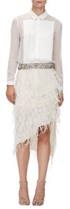 Haute Hippie Vintage Sequin Studded Glitter Skirt Antique White