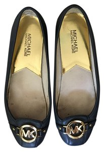 Michael Kors Moccasin Leather Logo Navy Flats