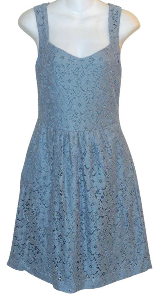 1dd307bbd374 Deletta Blue Small Lace Anthropologie Short Casual Dress Size 6 (S ...