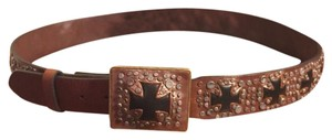 Ariat XL-ARIAT DARK/LIGHT BROWN/BLACK LEATHER CROSS ACCENTS WITH BRASS/SILVER STUDDED BELT