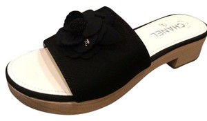 Chanel Camellia Slides Sandals Black Mules