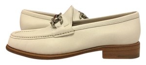 Salvatore Ferragamo Low Heel Slip On Loafers Casual Off White Leather Flats