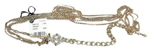 Chanel Eye Love Long Necklace Belt Gold Chains Blue CC Crystals New