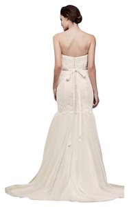 David's Bridal Ivory Lace & Tulle Strapless Trumpet with Skirt (Plus Veil Petticoat Bustier) Feminine Wedding Dress Size 2 (XS)