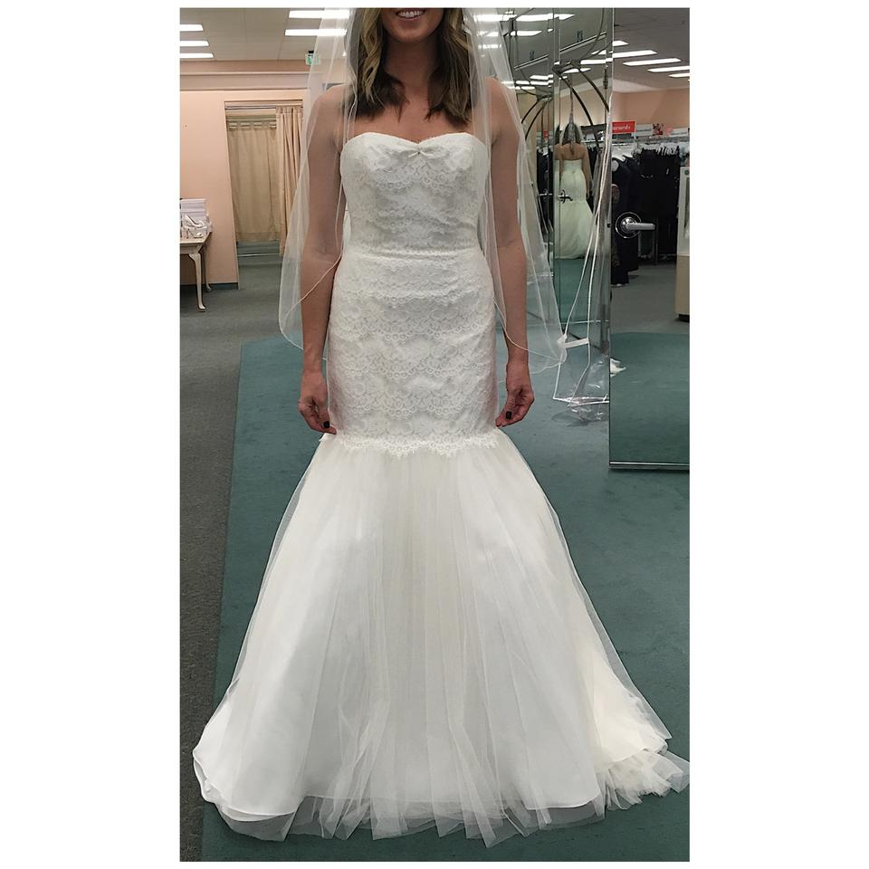 David S Bridal Plus Size Wedding Gowns: David's Bridal Ivory Lace & Tulle Strapless Trumpet With